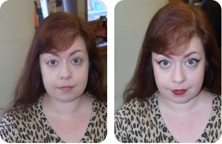 My face, in fluorescent lighting, before and after I applied vintage makeup. Did I mention the fluorescent lighting?