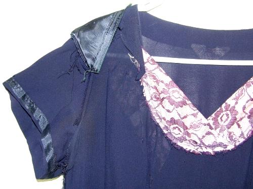 Neckline and shoulder detailing of Sears Roebuck dress, inside out. Note the translucency of the crepe.