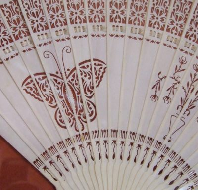 Canton ivory fan detail. Moth or butterfly?