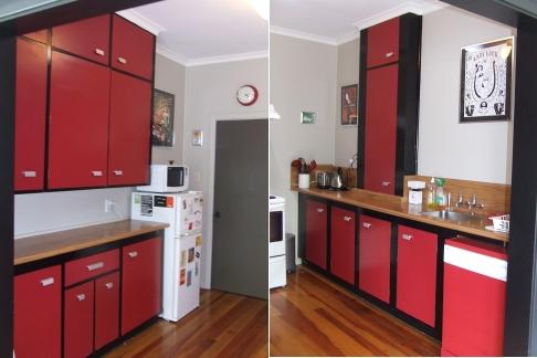 """Exhibit A: Rockabilly Kitchen, original 1940s layout - note the """"pie safe"""" cupboard"""