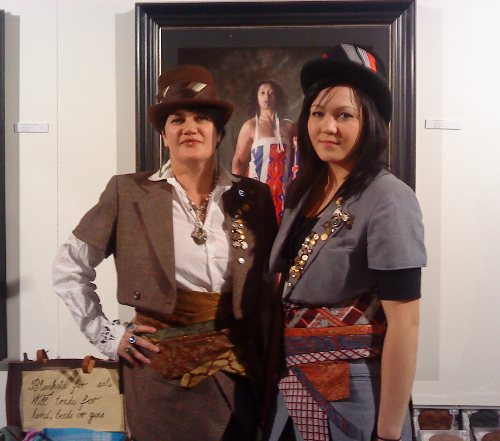 Suzanne Tamaki and her daughter modelling Tamaki's designs.
