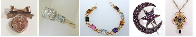 Vintage jewelry examples.
