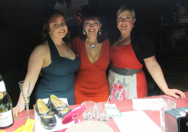 Left to right: Sadie von Scrumptious, Miss La Belle, Delicia Minx (stage manageress)