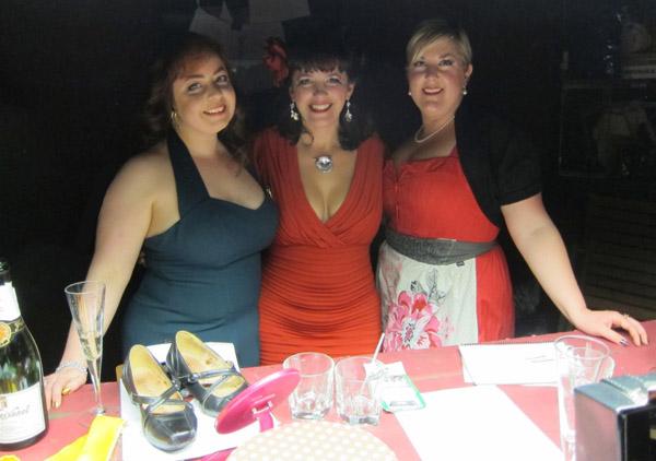 Left to right: Sadie von Scrumptious, Miss La Belle, Delicia Minx (stage manageress)