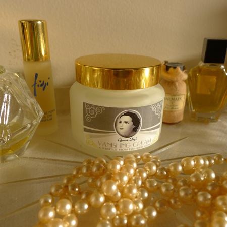 Vintage atomizer? Check. Vintage pearls? Check. Queenie May? Check.