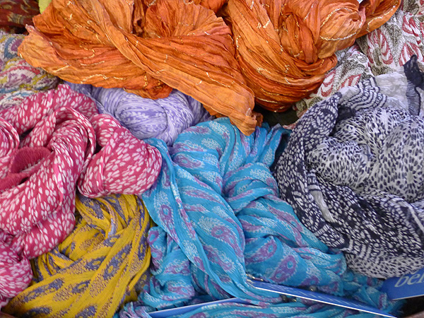 Vivid silky scarves, just waiting...