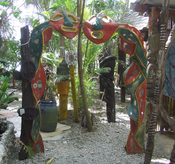 Carved gateway at Michoutouchkine & Pilioko in Port Vila, Vanuatu