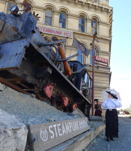 What a prodigious engine! One of the interactive steamworks outside Steampunk HQ.