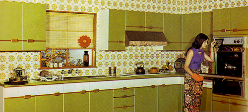 Chartreuse kitchen from the August 1975 issue of Australian Homes and Gardens.