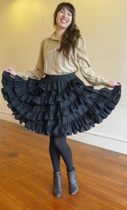 Skirt-BlackBlackRuffle-FullSmile