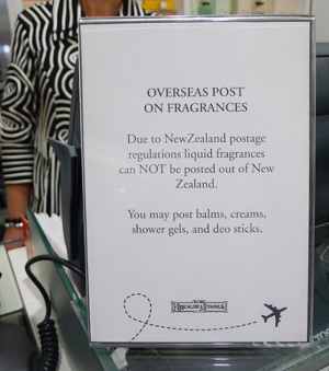 "Note that you cannot mail fragrance overseas from New Zealand - it's a ""dangerous substance."""