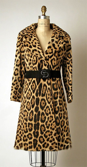 Jaguar fur coat from the 1970s at the Metropolitan Museum of Art. Because it is made from big cat fur, this coat could not be sold today.
